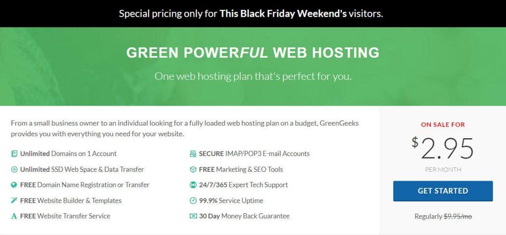 greengeek black friday shared hosting discount