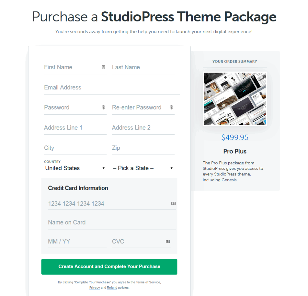 purchase studiopress theme package