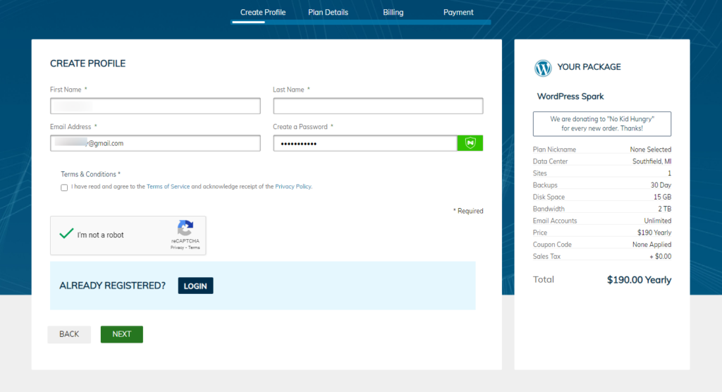 liquid web purchase process - create profile